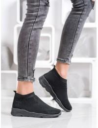 Juodos spalvos stilingi patogūs batai dekoruoti juodais kristalais - TF-20B
