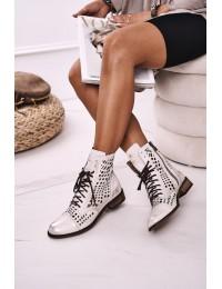 Women's Leather Openwork Boots White Abigail - 2627/004 WHITE