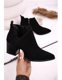 Juodi zomšiniai natūralios odos stilingi batai - 2602/028 BLACK