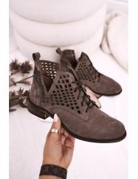 Zomšiniai natūralios odos stilingi originalūs aukštos kokybės batai - 2628/032 BROWN