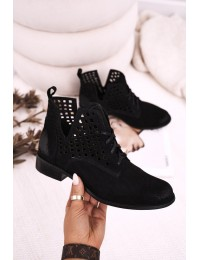 Zomšiniai natūralios odos stilingi originalūs aukštos kokybės batai - 2628/028 BLACK