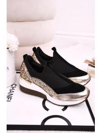 Stilingi prabangaus dizaino aukštos kokybės batai su aukso spalvos motyvais - 2574 BLK/GOLD