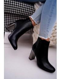 Women s Boots On High Silver Heel Black Peve - 7673-GA BLK