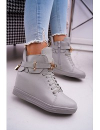 Pilkos spalvos stilingi batai su platforma papuošti spynele - H6600 GREY