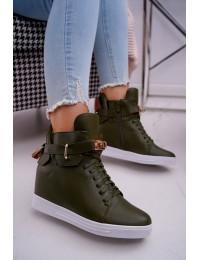 Chaki spalvos stilingi batai su platforma papuošti spynele - H6600 GREEN
