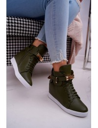 Women s Wedge Sneakers Gold Padlock olive Tersey - H6600 GREEN