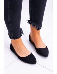 Delicate Pointed Toe Ballerinas Suede Black Dermeno - CD52P / WD39 BLK