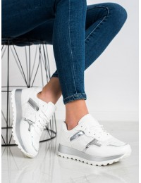 Balti stilingi bateliai su sidabro spalvos apdaila - 2019-447W