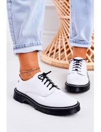 Balti natūralios odos Oxfords batai su raišteliais - 04087-11/00-5 BIAŁY LAKIER