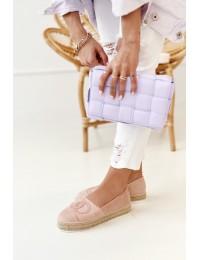 Stilingos rožinės spalvos zomšinės espadrilės - T379P PINK