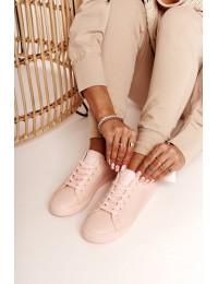 Švelnios rožinės spalvos odiniai suvarstomi BIG STAR bateliai - HH274141 L.PINK