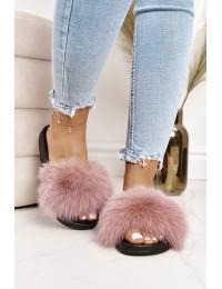Stilingos patogios šlepetės su natūraliu puriu kailiuku - WB01 D-PINK