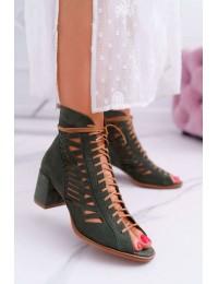 Aukštos kokybės natūralios versto odos stilingos suvarstomos basutės - 04040-09/00-5 GREEN