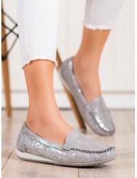 Švelnaus sidabrinio atspalvio stilingi mokasinai - GD-FL620A-G