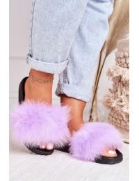 Stilingos patogios šlepetės su natūraliu puriu kailiuku\n - WB01 PURPLE