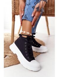 Juodi stilingi suvarstomi batai patogiu neslystančiu padu - F037 BLACK