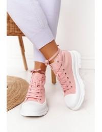 Rausvi stilingi suvarstomi batai patogiu neslystančiu padu - F037 PINK
