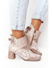 Natūralios odos išskirtinio dizaino aukštos kokybės batai - 03963-20/00-5 BEŻ ZŁOTO