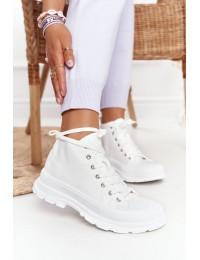 Balti stilingi suvarstomi batai patogiu neslystančiu padu - F037 WHITE