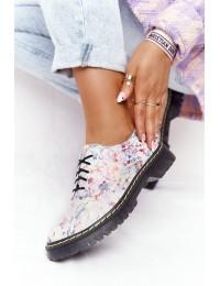 Natūralios odos gėlėti suvarstomi madingi batai - 04087-3800-5 KWIATY/BIAŁE