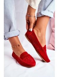 Natūralios verstos odos stilingi raudoni mokasinai - LR92309 RED