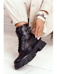Madingi originalaus dizaino aukštos kokybės juodi batai - 168-302 BLK