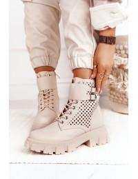 Madingi originalaus dizaino aukštos kokybės smėlio spalvos batai - 168-302 BEIGE