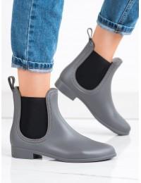 Pilkos matinės spalvos stilingi guminiai batai - HMY-8G