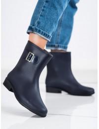 Tamsiai mėlynos spalvos guminiai batai papuošti sagtele - HMY-7BL