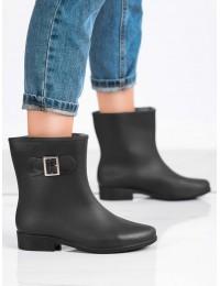 Juodos spalvos guminiai batai papuošti sagtele - HMY-7B