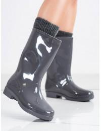 Pilkos spalvos žvilgantys guminiai batai - HMY-11G