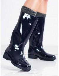 Tamsiai mėlynos spalvos žvilgantys guminiai batai - HMY-12BL