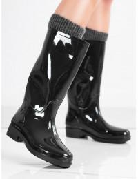 Juodos spalvos stilingi juodi guminiai batai - HMY-12B