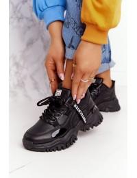 Juodi stilingi ir patogūs laisvalaikio stiliaus batai - 21SP26-3925 BLACK
