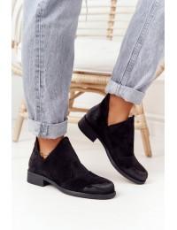 Juodos spalvos zomšiniai stilingi batai - ST-57P BLACK