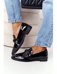 Elegant Women's Loafers S.Barski Patent Black - 011-2 BLK LAKIER