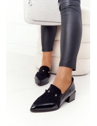 Elegantiški klasikinės juodos spalvos lakuotos odos bateliai - A15 BLACK