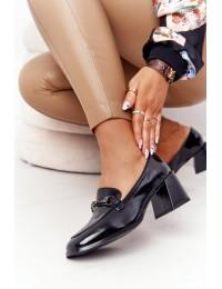 Stilingi klasikinės juodos bateliai madingu patogiu kulnu - A17 BLACK
