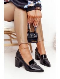 Elegantiški stilingi aukštos kokybės juodi aukštakulniai bateliai - A14 BLACK