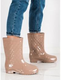 Švelniai rusvos spalvos stilingi guminiai batai - HM-01BE