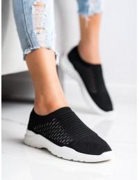 Klasikinės juodos spalvos SLIP ON stiliaus laisvalaikio bateliai - 9862B/W