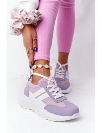 Švelnios violetinės spalvos aukštos kokybės stilingi batai su platforma - LA130P PURPLE
