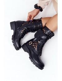 Juodi išskirtiniai aukštos kokybės batai ažūriniu aulu - NC1125 BLK