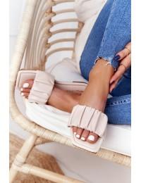 Smėlio spalvos odinės stilingos šlepetės - CK165 BEIGE