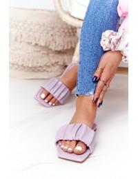 Violetinės odinės stilingos šlepetės - CK165 PURPLE
