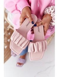 Rožinės odinės stilingos šlepetės - CK165 PINK