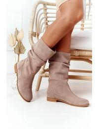 Verstos natūralios odos smėlio spalvos aukštos kokybės auliniai batai - 05057-04/00-6 BEŻ