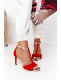 Raudonos spalvos aukštakulnės elegantiškos basutės - 280-58 RED