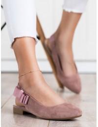 Rožinės spalvos elegantiški bateliai su kaspinėliu šone\n - BL615P