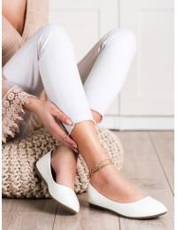 Lakuotos odos elegantiški baltos spalvos bateliai - 9988-60W